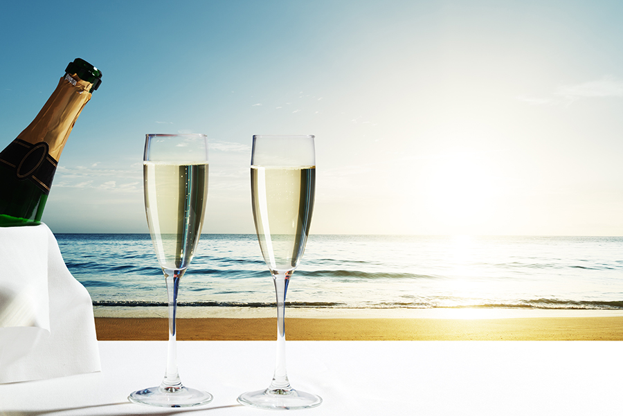Champagne by the ocean